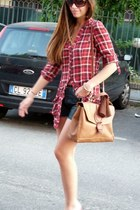 red plaid BCBG blouse