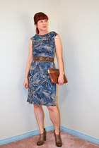 brown brown leather Nordstroms boots - navy Ralph Lauren dress