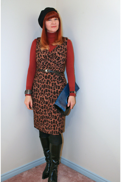tawny H&amp;M sweater - black TJ Maxx boots - dark brown Ralph Lauren dress