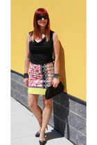 black danier bag - yellow Anthropologie skirt - black Guess pumps