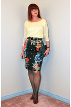 black floral Anthropologie skirt - light yellow sequin Joe Fresh top
