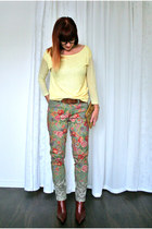 olive green floral Anthropologie jeans - maroon leather Nine West boots