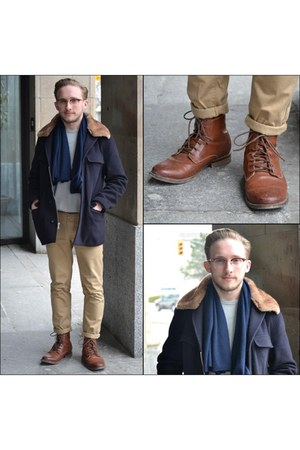 navy banana republic coat - bronze H&M boots - navy cashmere Club Monaco scarf