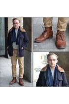 navy banana republic coat - bronze H&M boots - navy cashmere Club Monaco scarf
