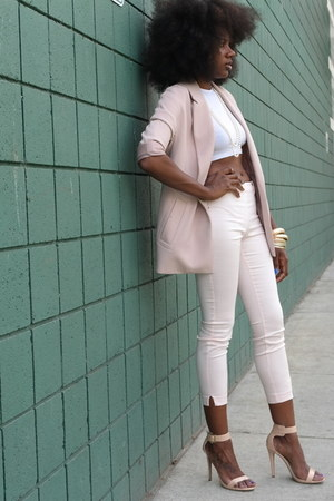 light pink H&M blazer - light pink H&M pants - white crop top H&M top