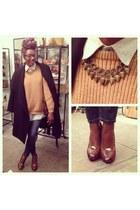 mustard vintage sweater - black H&M coat - navy skinny Levis jeans - brown heels