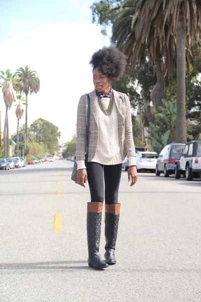 beige mens H&M blazer - black Forever 21 boots - eggshell mens H&M sweater