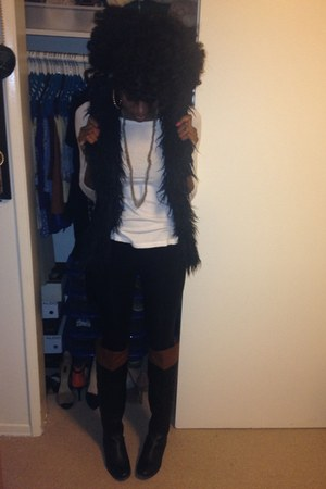 black INC vest - black Forever 21 boots - black Forever 21 leggings