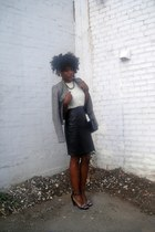 black Kimchi Blue blazer - black vintage bag - black leather Goodwill skirt