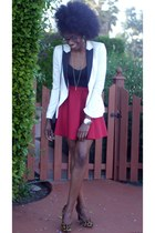 white color block H&M blazer - black tank top xhilaration top