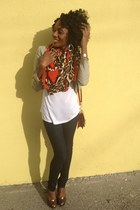 brown Zara scarf - navy nissi jeans - dark khaki H&M jacket - white Old Navy top