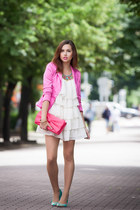 hot pink from Germany blazer - white unknown dress - hot pink H&M bag