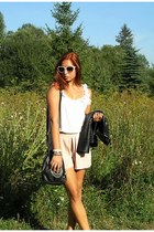 light pink romwe shorts - black new look jacket - black New Yorker bag