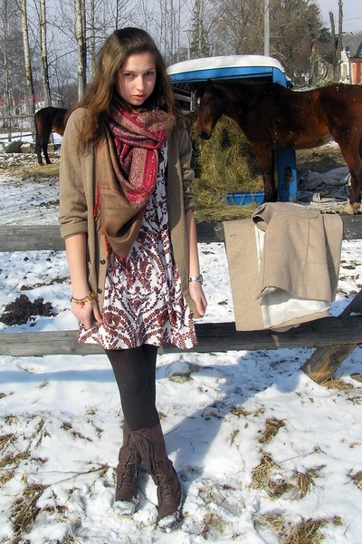 dark brown New Yorker boots - white Topshop dress - camel Zara coat - light brow