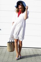 white second-hand dress - navy reserved hat - red vintage scarf - brown straw vi