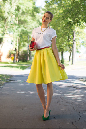 yellow Choies skirt - red unknown bag - red Camaïeu belt
