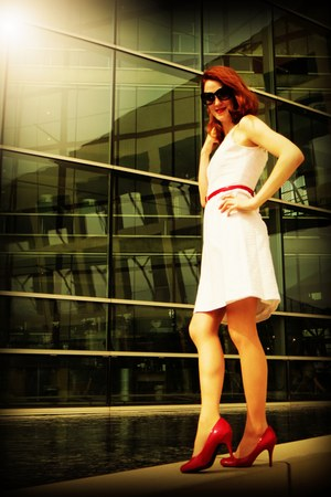 red Target heels - white The Limited dress - black banana republic sunglasses