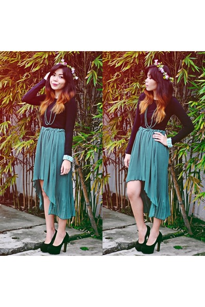 teal mullet DIY skirt - black black H&M sweatshirt