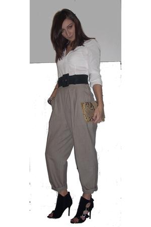 white Zara shirt - H&M accessories - no brand purse - black no brand belt - beig