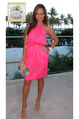 Hot-pink-silk-rebecca-taylor-dress-beige-snakeskin-lauren-merkin-bag