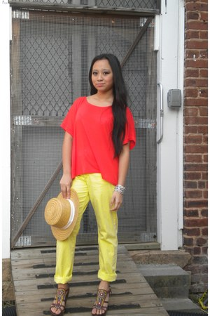 gianni bini wedges - yellow thrifted jeans - thrifted hat - carrot orange shirt