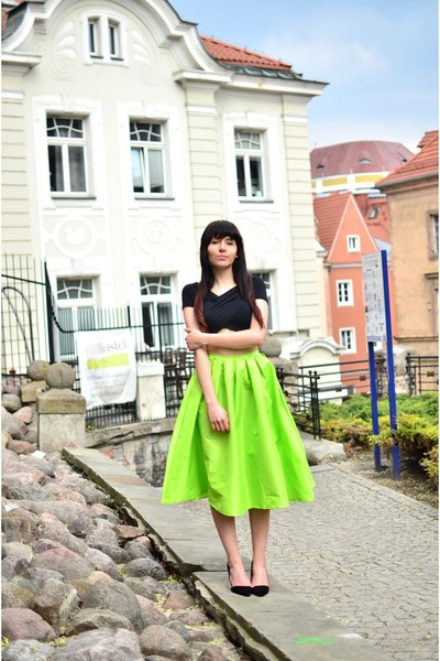 black Choies top - lime green Choies skirt