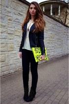 black Zara boots - black Cubus jacket - ivory H&M shirt