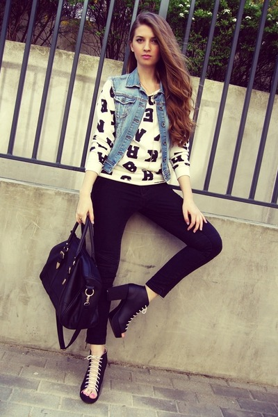 black H&M boots - black Pimkie bag - black no name pants
