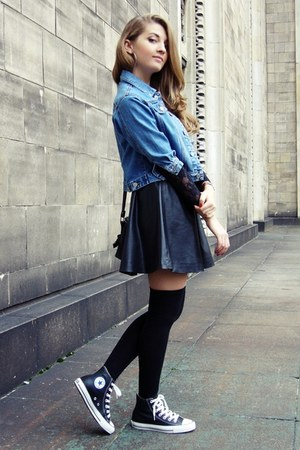 black no name socks - sky blue vintage jacket - black H&amp;M skirt