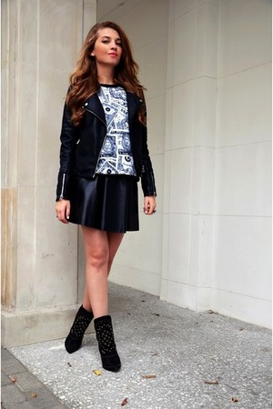 black Zara boots - black Cubus jacket - black H&M skirt - Sheinside sweatshirt