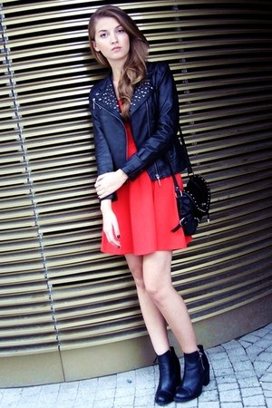 black H&M boots - red H&M dress - black OASAP jacket - black OASAP bag