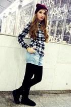 maroon H&M hat - black Emu boots - vintage shirt - sky blue H&M shorts