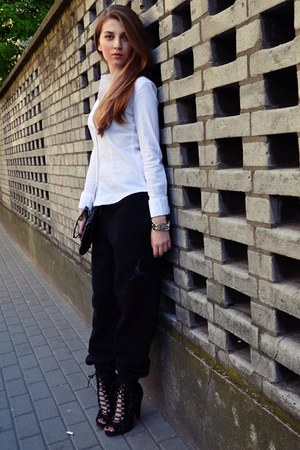black Topshop heels - white Orsay shirt - black jordan pants