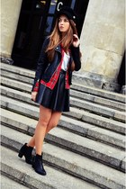 black H&M boots - black H&M hat - black Cubus jacket - ruby red Zara shirt