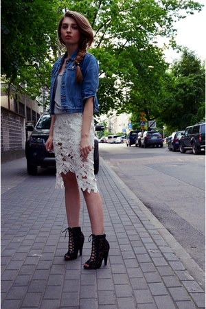 off white Sheinside skirt - blue second hand jacket