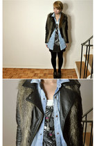 black leather H&M jacket - blue denim H&M shirt