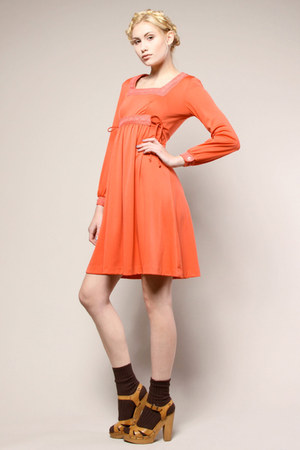 coral peasant vintage dress
