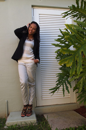 black H&M blazer - eggshell Forever 21 sweater - off white H&M pants