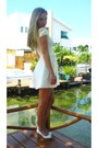 White-asos-dress-salmon-handmade-earrings-ivory-zara-wedges