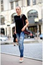 Zara jeans - Zara bag - Zara t-shirt - white Zara wedges