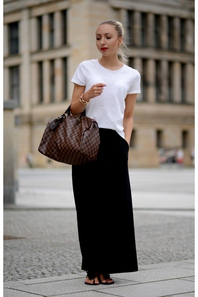white H&M t-shirt - dark brown Louis Vuitton bag - black H&M skirt