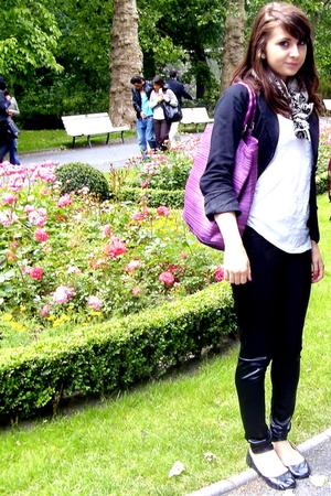 H&M purse - one love leggings - H&M top - H&M scarf - Amisu blazer - Atmosphere