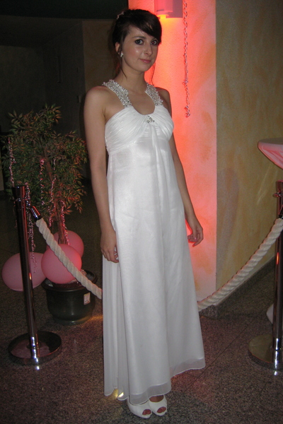 white Laura Scott Evening dress