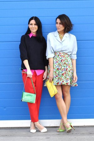 vintage skirt - vintage shirt - hot pink Ralph Lauren shirt