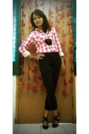 pink unbranded shirt - black unbranded pants