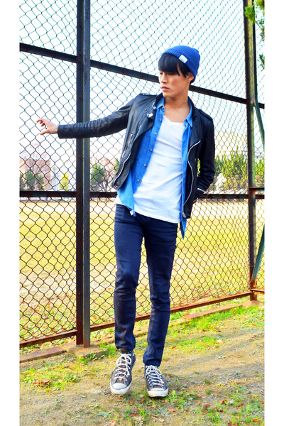 beanie Rageblue hat - biker jacket april 77 jacket - blue vintage shirt