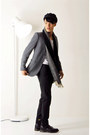 Charcoal-gray-grey-classic-topman-blazer-navy-sailor-cap-vintage-hat