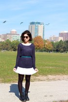 navy Gap sweater - black Dr Martens boots - white Urban Outfitters dress