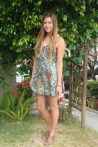 blue Billabong dress - brown Cathy Jean shoes