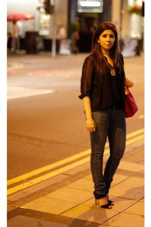 red longchamps bag - Zara jeans - black Topshop shoes
